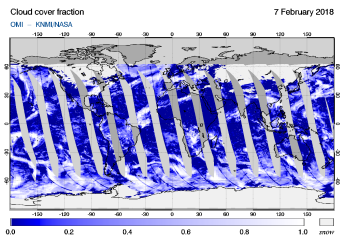 OMI - Cloud cover fraction of 07 February 2018