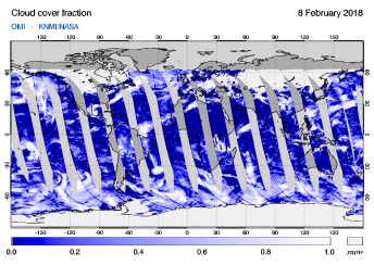 OMI - Cloud cover fraction of 08 February 2018