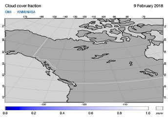 OMI - Cloud cover fraction of 09 February 2018