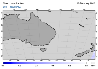 OMI - Cloud cover fraction of 10 February 2018