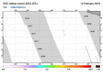 OMI - SO2 vertical column of 10 February 2018