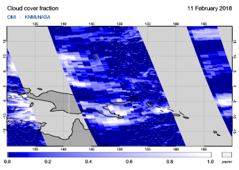 OMI - Cloud cover fraction of 11 February 2018