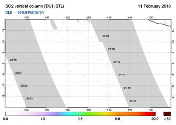 OMI - SO2 vertical column of 11 February 2018