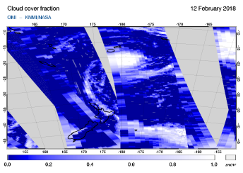 OMI - Cloud cover fraction of 12 February 2018