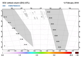 OMI - SO2 vertical column of 12 February 2018