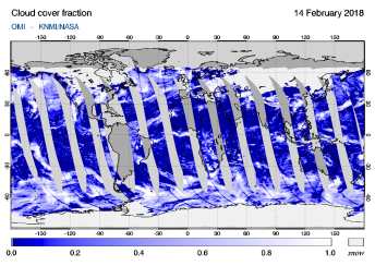 OMI -  Cloud cover fraction of 14 February 2018