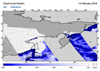 OMI - Cloud cover fraction of 15 February 2018
