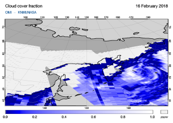 OMI - Cloud cover fraction of 16 February 2018