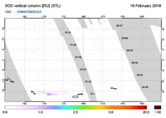 OMI - SO2 vertical column of 16 February 2018