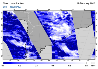 OMI - Cloud cover fraction of 19 February 2018