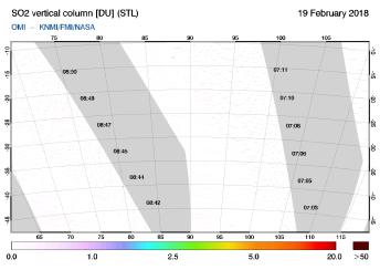 OMI - SO2 vertical column of 19 February 2018