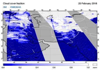 OMI - Cloud cover fraction of 20 February 2018