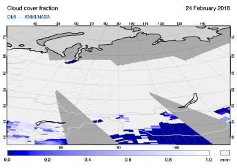 OMI - Cloud cover fraction of 24 February 2018