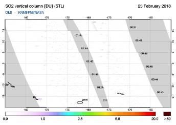 OMI - SO2 vertical column of 25 February 2018