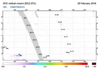 OMI - SO2 vertical column of 28 February 2018