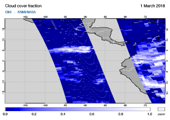 OMI - Cloud cover fraction of 01 March 2018