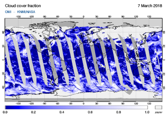 OMI - Cloud cover fraction of 07 March 2018