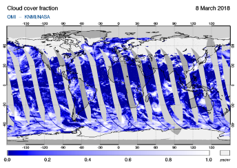 OMI - Cloud cover fraction of 08 March 2018