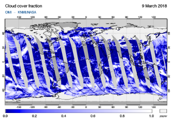 OMI - Cloud cover fraction of 09 March 2018