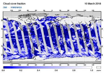 OMI - Cloud cover fraction of 10 March 2018