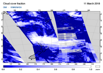 OMI - Cloud cover fraction of 11 March 2018