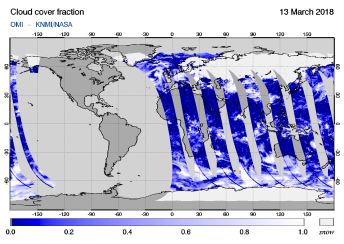 OMI - Cloud cover fraction of 13 March 2018