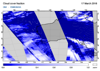 OMI - Cloud cover fraction of 17 March 2018