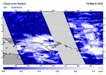 OMI - Cloud cover fraction of 18 March 2018