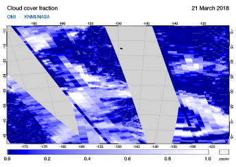 OMI - Cloud cover fraction of 21 March 2018