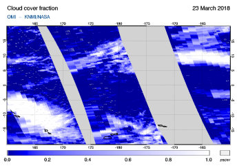 OMI - Cloud cover fraction of 23 March 2018