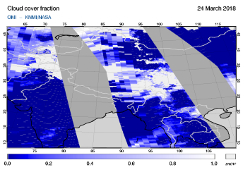 OMI - Cloud cover fraction of 24 March 2018