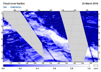 OMI - Cloud cover fraction of 25 March 2018