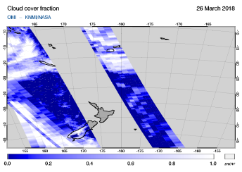 OMI - Cloud cover fraction of 26 March 2018