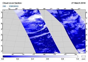OMI - Cloud cover fraction of 27 March 2018