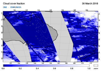 OMI - Cloud cover fraction of 30 March 2018