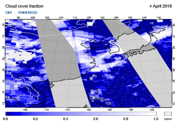 OMI - Cloud cover fraction of 04 April 2018