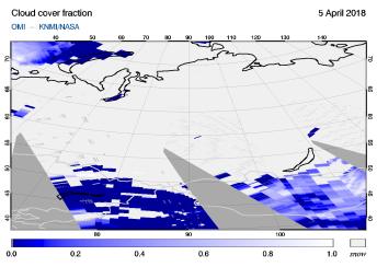 OMI - Cloud cover fraction of 05 April 2018