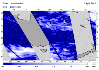 OMI - Cloud cover fraction of 07 April 2018