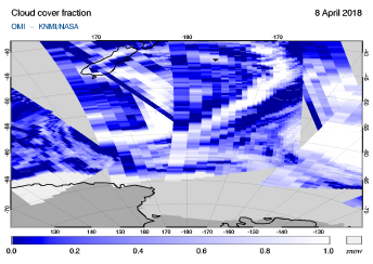 OMI - Cloud cover fraction of 08 April 2018