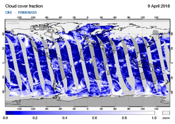 OMI - Cloud cover fraction of 09 April 2018