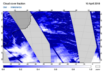 OMI - Cloud cover fraction of 10 April 2018