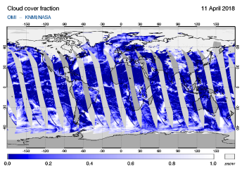 OMI - Cloud cover fraction of 11 April 2018
