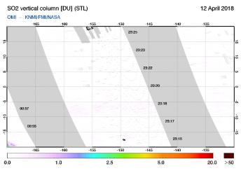 OMI - SO2 vertical column of 12 April 2018
