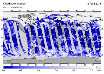 OMI - Cloud cover fraction of 13 April 2018