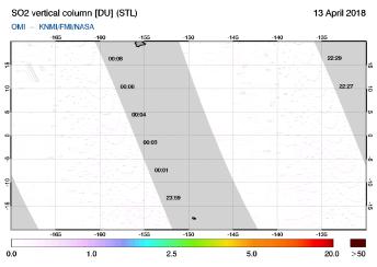 OMI - SO2 vertical column of 13 April 2018