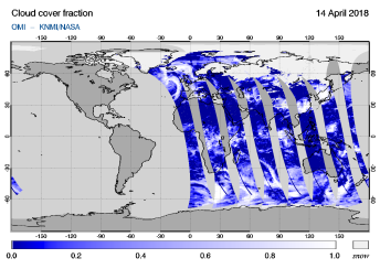OMI - Cloud cover fraction of 14 April 2018