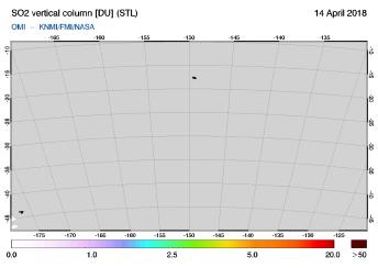 OMI - SO2 vertical column of 14 April 2018