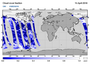 OMI - Cloud cover fraction of 15 April 2018