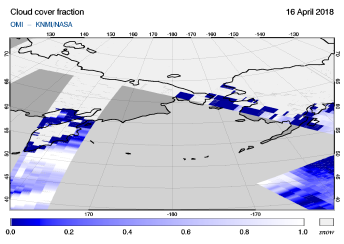 OMI - Cloud cover fraction of 16 April 2018