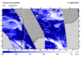 OMI - Cloud cover fraction of 17 April 2018